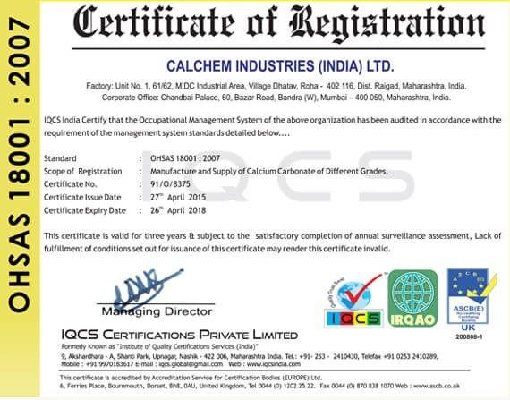 Awards & Memberships of Calchem Industries (india) Ltd  | Bandra