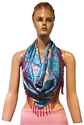 Silk Printed Heavy Beads Triangle Scarf