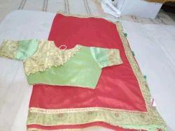 Red Plain Saree