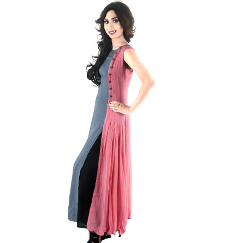 c96bad8c01 Light Pink-grey A-Line Pleated Cotton Long Kurti, Rs 1750 /piece ...
