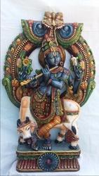 Lord Krishna Wooden Statue with Prabhavali