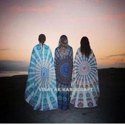 Round Mandala With Fringe Bedspread Indian Handmade Tapestry