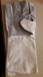 Plain 14 Inch Leather Cotton Gloves, Packaging Type: Packet