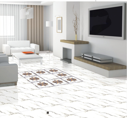 White Digital Floor Tiles, Thickness: 10-15 mm