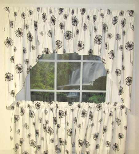 Posey White Black Swag Valance Curtain