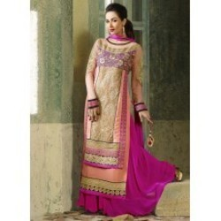 1deede3ef07 Hot Pink and Peach Georgette Palazzo Suit
