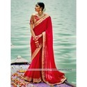 Party Wear Red Saree